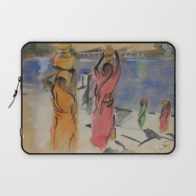 Women carrying water from Pushkar - laptop sleeve for Society6