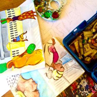 Work in progress - paintings and sketchings for Travels with my Art