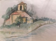 Watercolour of a chapel in Secadura in Cantabria, Spain by Panchali Mukherjea