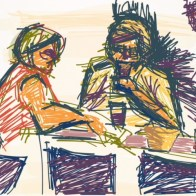 A quick sketch done on my iPad drawing app of the ladies in the front table as I waited for my lunch in Sonabia, Spain - Panchali Mukherjea
