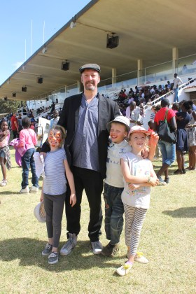 Frida, Mark, Leon and Lottie at Heading down the home straight at Ngong Racecourse in Nairobi