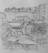 Sketch of a seaside town in Cornwall done by Lisa Davies