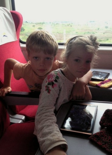Leon and Lottie travelling on the Madaraka Express Mombasa-Nairobi Standard Gauge Railway