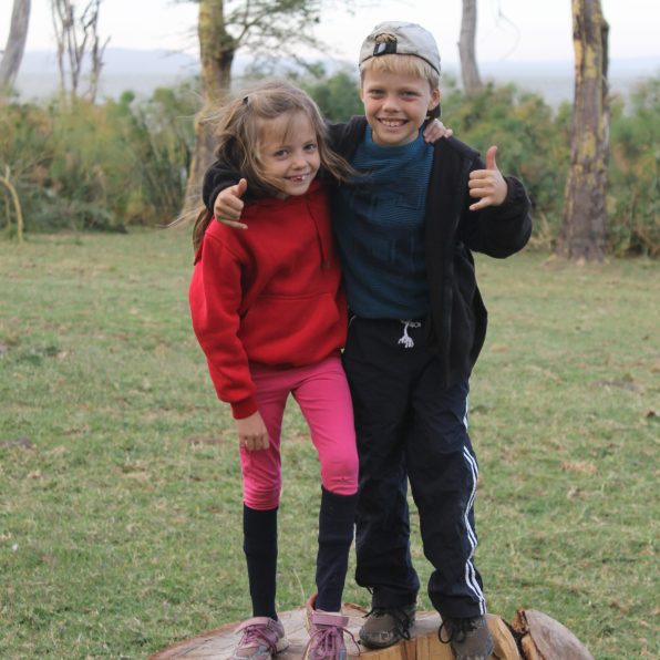 Lottie and Leon at Fishermans camp on Lake Naivasha, Kenya