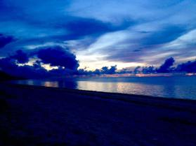 Before the dawn on Shanzu Beach in Mombasa, Kenya