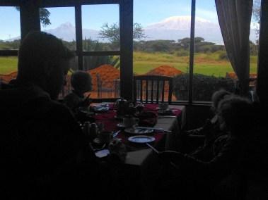 Enjoying the view of Mount Kilimanjaro over breakfast at Amboseli Sopa Lodge in Kenya