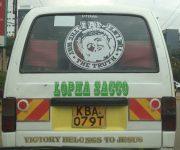 Victory belongs to Jesus on this matatu in Nairobi