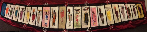 The finished Barocco The Red Dress Project panel - designed and embroidered by members of the Kenya Embroiderers' Guild