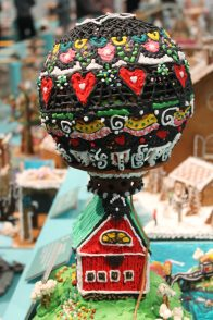 Gingerbread hot air balloon at the ArkDes 2018 Exhibition
