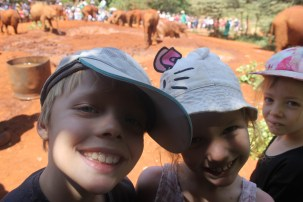 Leon, Frida and Lottie at the David Sheldrick Centre in Nairobi