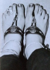 Ali's feet with Indian sandles and Indian jewellery in Goa, India (no shock there)