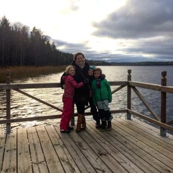 Ali, Lottie, Leon and Frida with Lake Mälaren, Sweden
