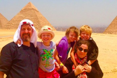 The Dunnells at the Pyramids of Giza in Cairo, Egypt