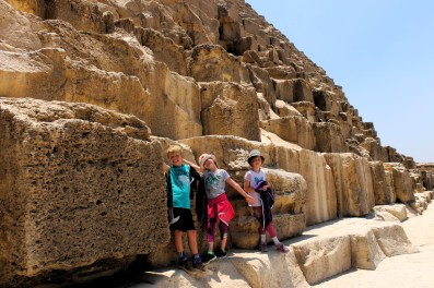 Lottie, Leon and Frida on the Great Pyramid of Giza, Egypt