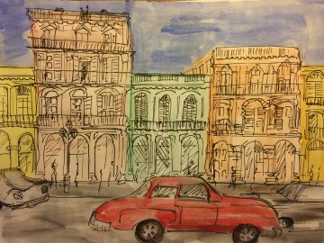 Havana street scene from my Cuban Sketchbook