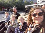 Family selfie, with ice-creams, in Kungsträdgården, Stockholm