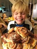 Leon with a fresh batch of homemade Kanelbullar