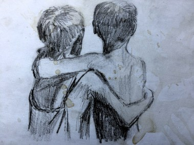 Sketch of two boys hanging around the temples in Angkor Wat from my Cambodian sketchbook