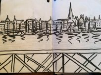 Pen and ink sketch of the Stockholm waterfront