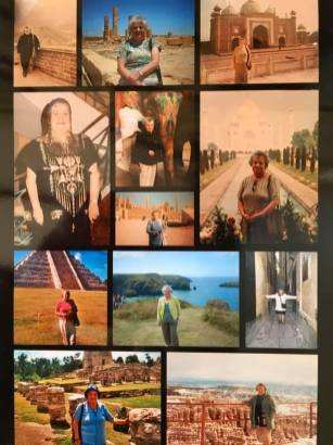 Images of mum visiting many different places around the world