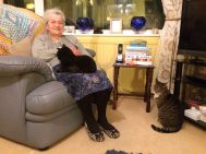 My mum Vera with her two girls, the cats, Blakey and Pumpkin