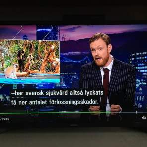 My YouTube clip of monkeys jumping on our trampoline in our backgarden in Tanzania featured on satirical news programme 'Svenska Nyheter' shown on national Swedish television.