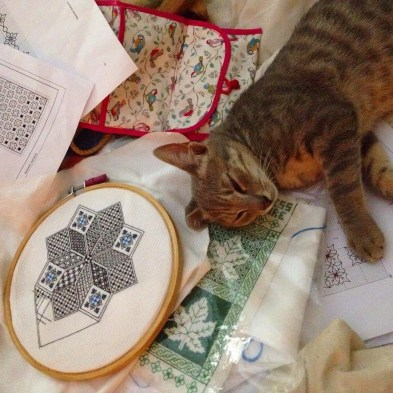 My sewing assistant, Modraniht the cat