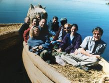 On board the mad cat headed Uros reed boat, Lake Titicaca