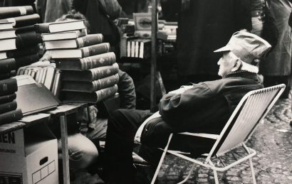 Bookseller at the second hand book market, Amsterdam