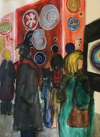 My sketch of people at the Millesgården Hilma af Klint exhibition