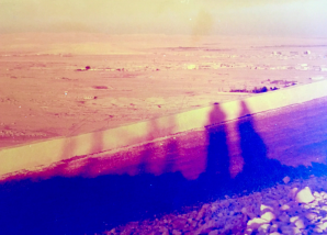 Me and my sister's shadows in the Syrian Desert