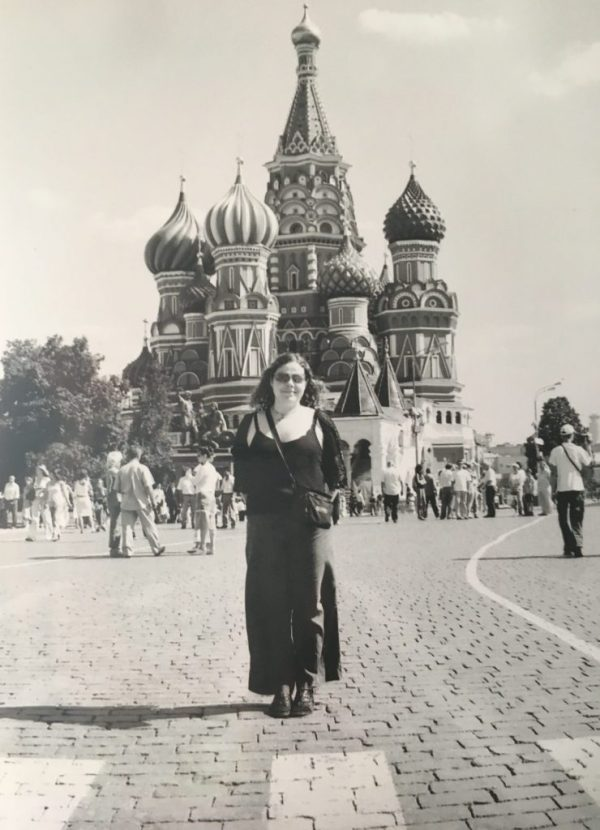 Ali and Saint Basil's Cathedral in Red Square, Moscow