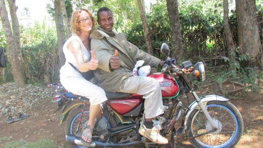 Me on motorbike with driver on way to Kakamega Forest