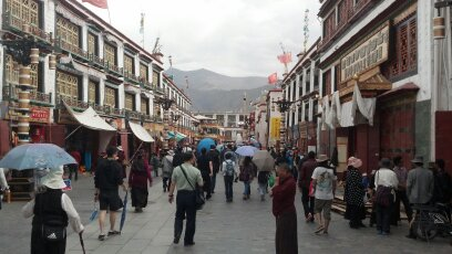 Things to do in Tibet. Busy Barkhor Street in Lhasa, capital of Tibet, where the people walk clockwise around a sacred temple