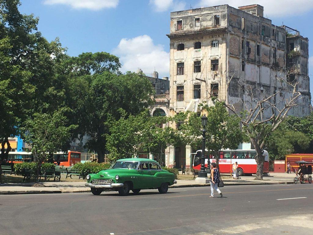 Things to see in Havana. Facade of the Perla Hotel in Havana, Cuba.