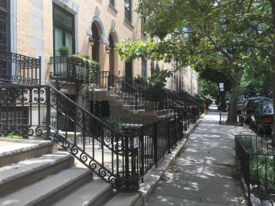 Row of architecturally notable homes in Harlem