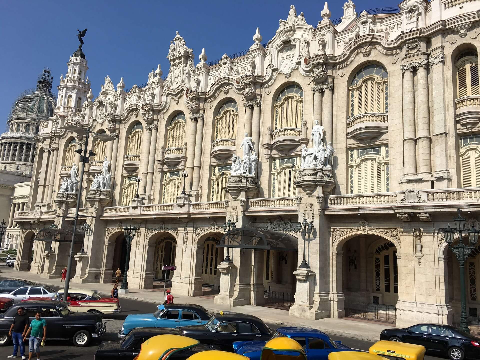 National Theatre in front of Central Park or Parque Central in Havana, Cuba