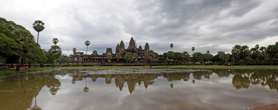 Angkor Wat from a distance reflected on the water