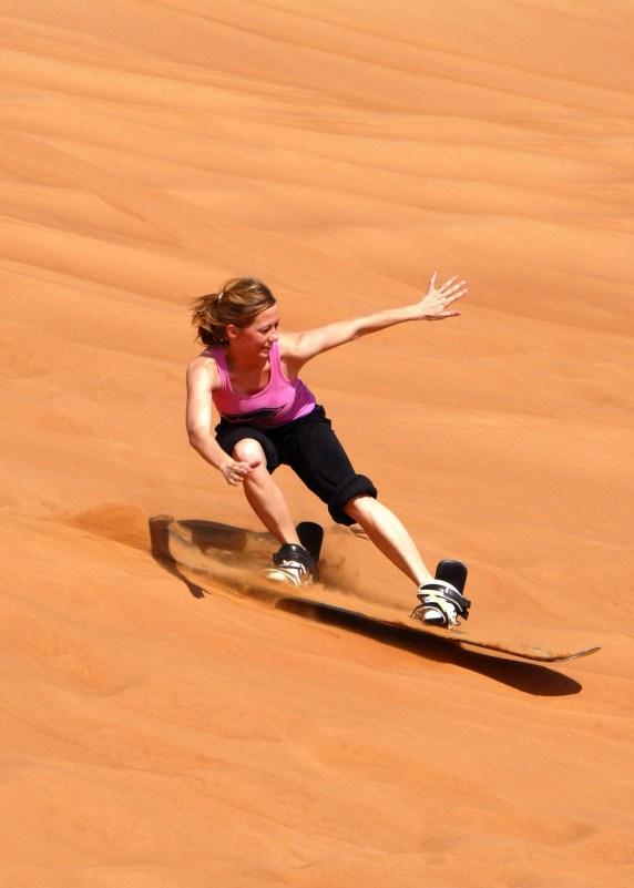 Sandboarding in Dubai.