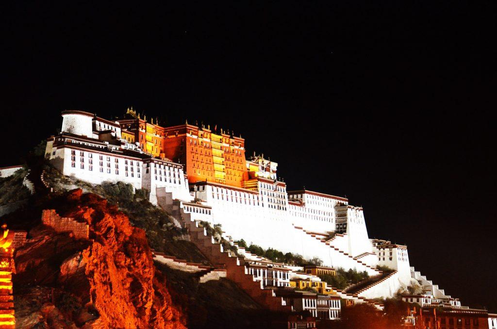 Potala Palace at night in Lhasa, Tibet