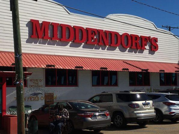Middendorf's storefront sign