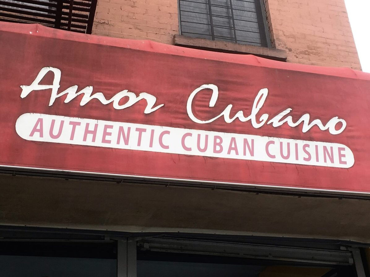 A sign reading Authentic Cuban cuisine. Cuban restaurants in NYC