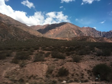 Views when crossing the Andes by bus