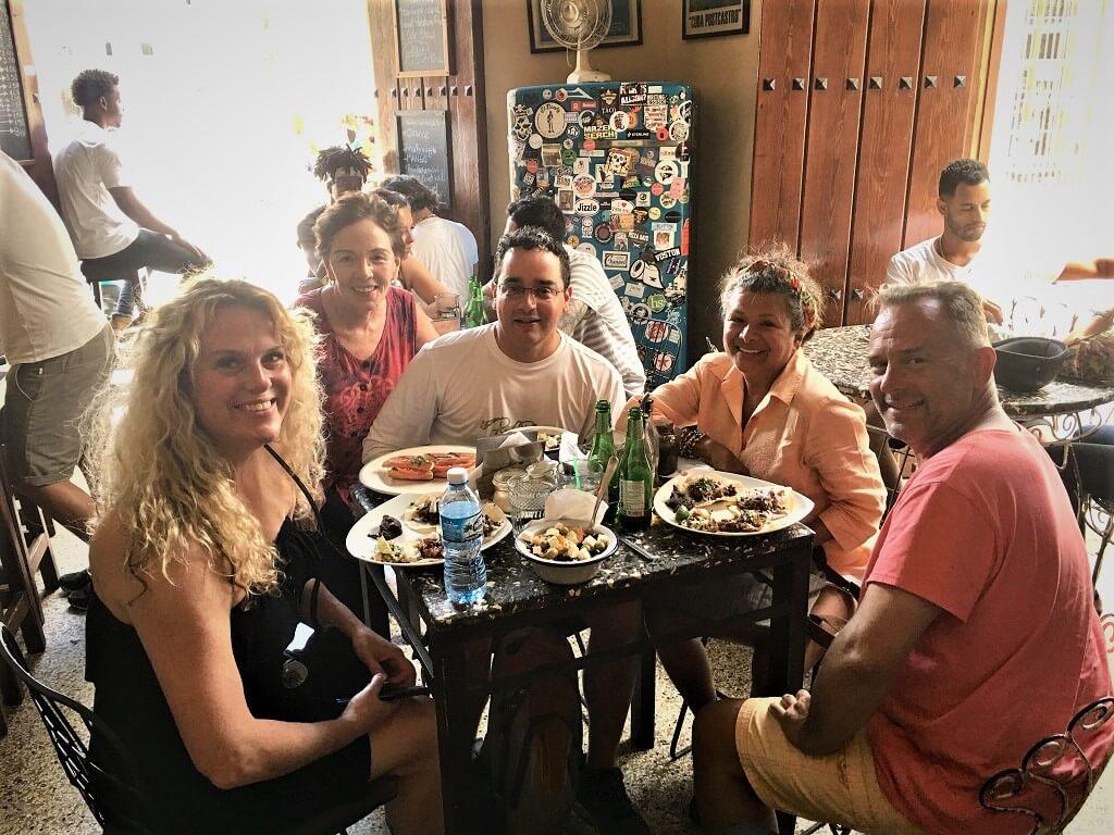 Four people eating Lunch at El Dandy in Old Havana