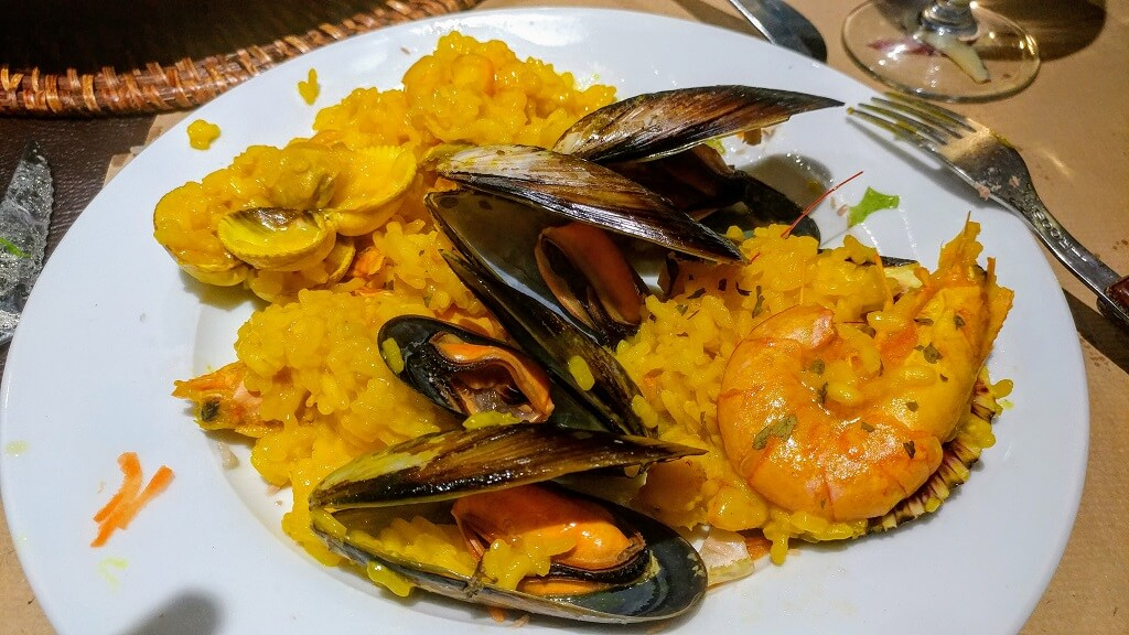 paella on the Camino on the way from Sarria to Santiago