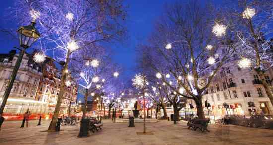 Christmas Lights Display on Sloane Square in Chelsea,