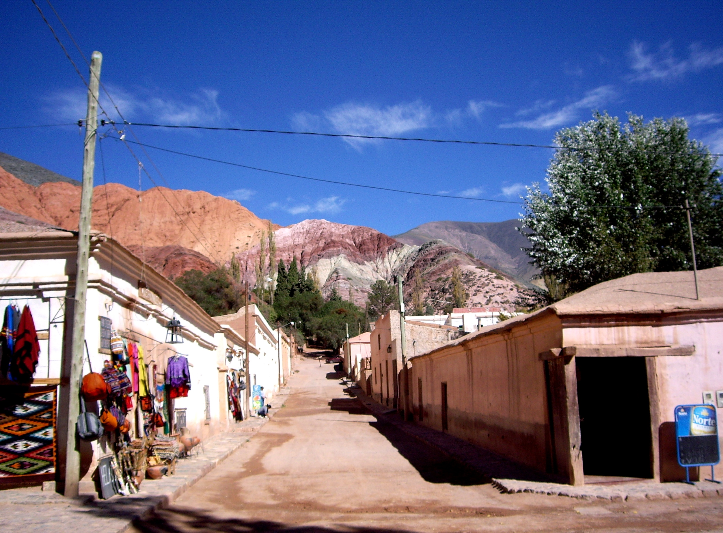Street view from indigenous town of Purmamarca, Argentina, framed by Cerro de Siete Colores