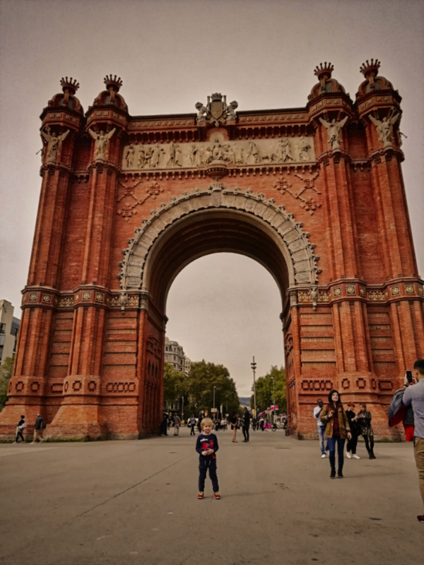 Barcelona with Kids Ted at the Arc de Triomf