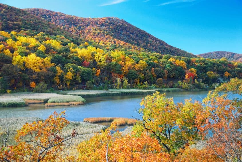 Autumn view of Hudson River valley