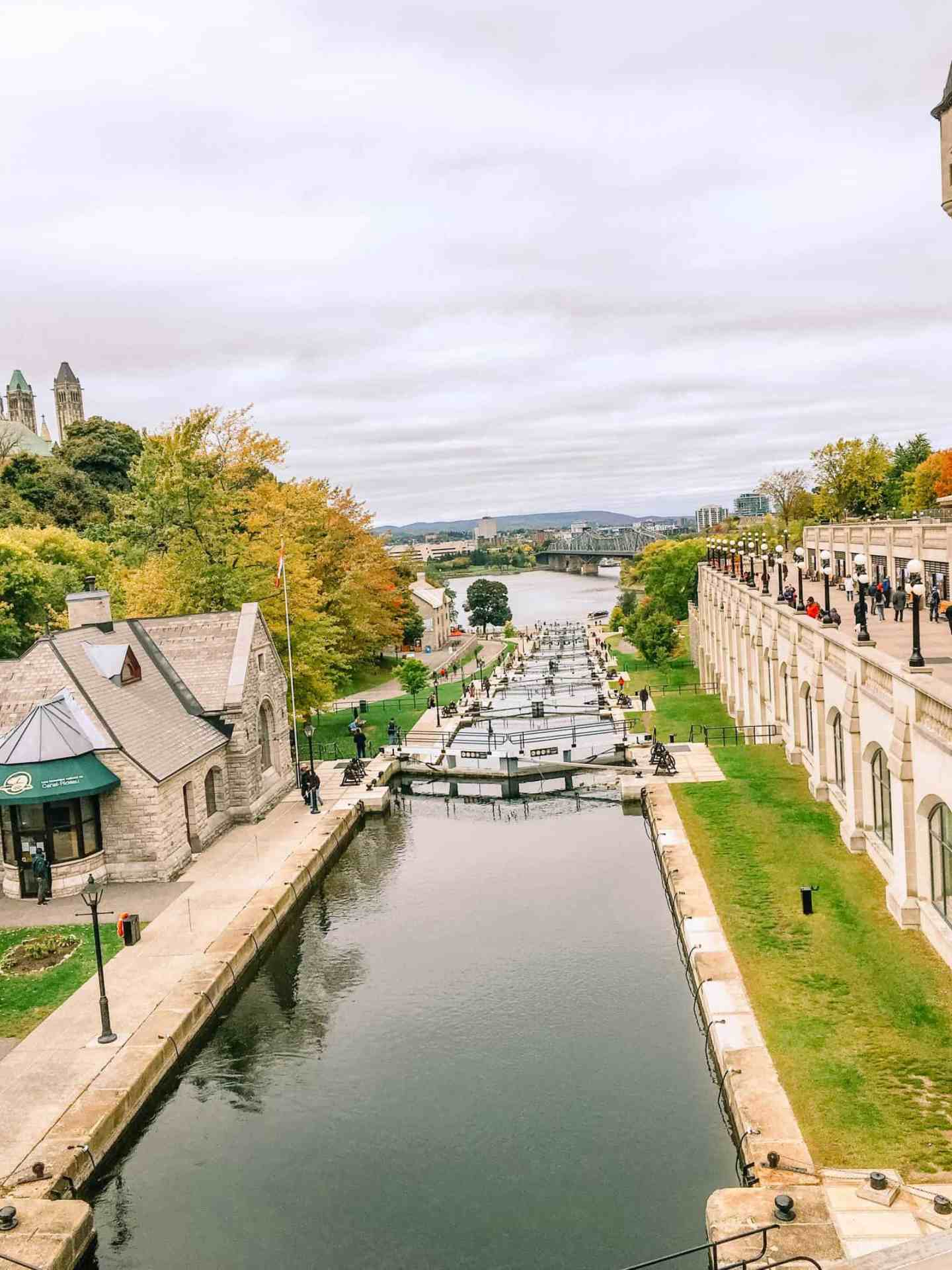 Ottawa travel, Rideau canal in Ottawa The locks allow for boats to travel from the lake through the city of Ottawa.